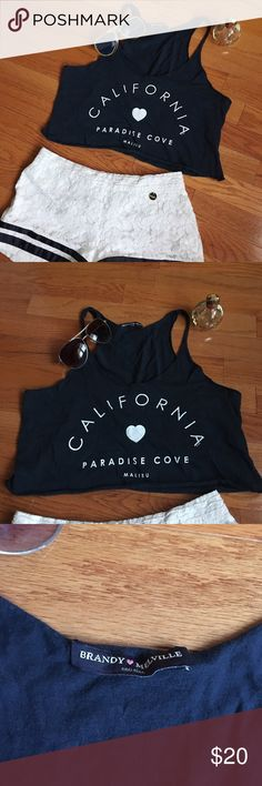 """Offer MeBrandy Melville California crop NWOT Cute summer navy crop tank top from Brandy Melville. Never worn, purchased from the store in NYC. Could be worn with a cute bandeau or bralette underneath. Meant to be """"oversized"""" and loose but fits like an XS - S. Brandy Melville Tops Crop Tops"""