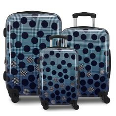 Ombre Dot is a mixture of a dot overlay with a striking ombre plaid, creating a fashionable luggage for the modern traveler. This spinner is made from sturdy, ultra-lightweight polycarbonate/ABS material, so it won't weight you down while you travel. Ombre Dot also features an integrated TSA-lock with 3-digit combo on all set pieces, retractable pull handle with push-button system, and four 360-spinner wheels for free mobility on any surface. You never skimp on fashion, so why skimp on luggage? Hardside Luggage Sets, Best Travel Luggage, 3 Piece Luggage Set, Bow Wow, 2020 Design, Nature Prints, Dots, Navy