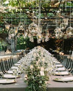 Outdoor wedding decor set up. Outdoor rustic wedding decor idea to plan a summer wedding. Garden Wedding Decorations, Wedding Themes, Wedding Centerpieces, Hanging Decorations, Green Centerpieces, Hanging Candles, Garden Weddings, Decor Wedding, Outdoor Weddings