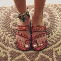 $20 Boho Chic Summer Spring Festival Style Brown Leather Strap Tribal Embroiderd Sandals With Cute Cool Statement Jewelled Ankle Bracelet