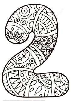 Number 2 Zentangle coloring page from Zentangle Numbers category Select from 27278 printable crafts of cartoons nature animals Bible and many Mandala Coloring Pages, Coloring Book Pages, Coloring Sheets, Adult Coloring, Kindergarten Math Activities, Preschool Art, Science Activities, Preschool Pictures, Printable Crafts
