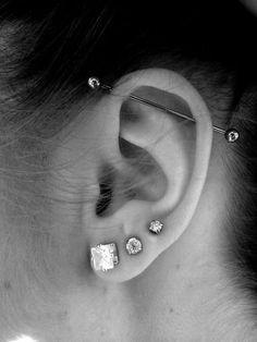 Stainless Steel Dangle Cartilage Ear Cuff - Non Piercing - Silver & Diamond - Fashion Ear Ring - Custom Jewelry Ideas Tragus Piercings, Ear Peircings, Cute Ear Piercings, Body Piercings, Bar Ear Piercing, Upper Ear Lobe Piercing, Three Ear Piercings, Piercing Industrial Oreja, Ear Piercings