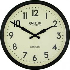 Smiths Clocks Large Station Sectric Retro Wall Clock with Arabic Numerals Black 50cm