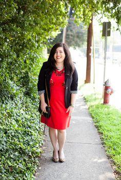 Red dress, black blazer, leopard heels
