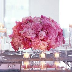 Pink Wedding Centerpieces: Peonies and Candles Peony Arrangement, Peonies Centerpiece, Simple Wedding Centerpieces, Elegant Centerpieces, Floral Arrangements, Wedding Decorations, Short Centerpieces, Pink Peonies, Pink Flowers