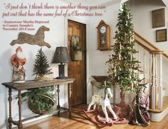 "From our November 2014 issue: In ""Seasons of Change,"" an Indiana homeowner keeps her decor feeling fresh while maintaining the charm of a simple Colonial-prim aesthetic. (Photographed and styled by Franklin & Esther Schmidt) Cowboy Christmas, Prim Christmas, All Things Christmas, Homemade Christmas, Festival Decorations, Xmas Decorations, Foyer Decorating, Decorating Ideas, Holiday Decorating"