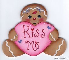 "HP GINGERBREAD ""Kiss Me"" FRIDGE MAGNET #Handpainted"