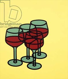 Wine Glasses 1969 by Patrick Caulfield - Tate prints, Tate canvas prints, Tate framed prints Pop Art, Illustrations, Illustration Art, Wine Art, Still Life Art, Arte Pop, Art Design, Book Design, Art And Architecture