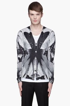 This isnt something I would wear but the design is very cool n some other guys might be able to pull off...  ALEXANDER MCQUEEN Grey Dragonfly pattern wool Cardigan