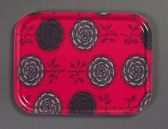 Birchwood tray with fabric (unknown design) 1960s