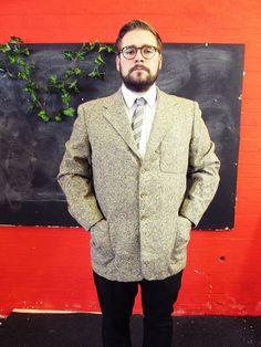 Vintage 1970s Light Tweed TWILL Blazer \Work Jacket Large