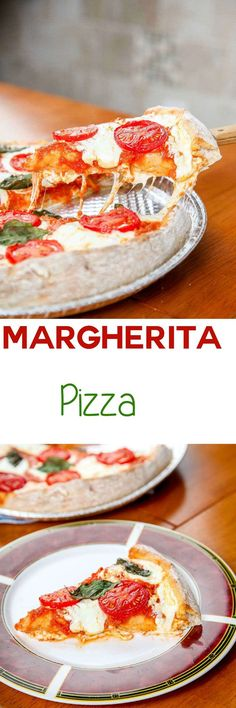 Pizza Margherita Recipe:Thick and chewy no rise homemade pizza brushed with garlic and topped with gooey cheese. Easy to make and faster than delivery!