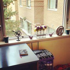 My dorm room window sill