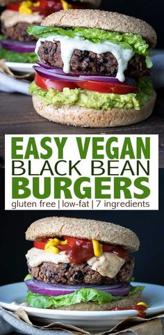 Easy Gluten-Free Vegan Black Bean Burgers The perfect recipe when you need a quick dinner! Made with ingredients you'll easily find in your kitchen, these vegan and gluten free black bean burgers are Sans Gluten Vegan, Sin Gluten, Vegan Recipes Easy, Whole Food Recipes, Vegan Black Bean Recipes, Vegan Burger Recipe Easy, Vegan Bean Burger, Vegan Black Bean Burgers, Black Burger