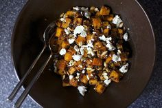 spicy squash and lentil salad -- excellent way to roast butternut squash, subbing in quinoa and feta instead of lentils and goat cheese also works. add red onions too