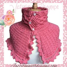 Elegant ladies shoulder scarf in coral with Irish cables and lace design, three pearl button caron simply soft strawberry yarn