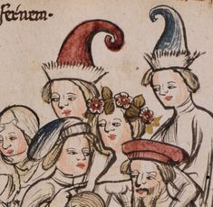 Basel, Universitätsbibliothek, A II f. Medieval Hats, Medieval Dress, Medieval Clothing, Early Modern Period, Late Middle Ages, Contemporary Dresses, 14th Century, Fashion Plates, Roman Empire