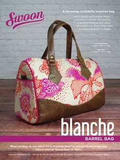 Swoon Patterns: Blanche Barrel Bag - PDF Vintage Bag Purse Sewing Pattern