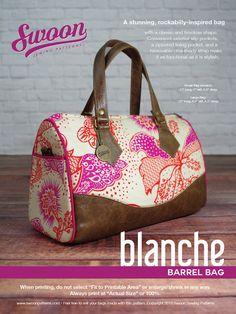 Swoon Patterns: Blanche Barrel Bag - PDF Vintage Bag Purse Sewing Pattern