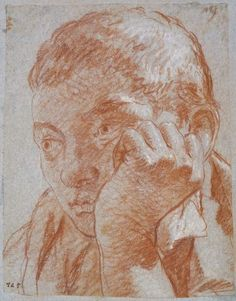 Head of a youth -    Tiepolo, Giovanni Battista;  1696-1770, red chalk, heightened with white on faded blue-grey paper, height: 254 mm, width: 196 mm