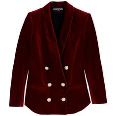 Balmain Blazer ($1,305) ❤ liked on Polyvore featuring outerwear, jackets, blazers, red, red jacket, long sleeve jacket, long sleeve blazer, velvet blazer and balmain
