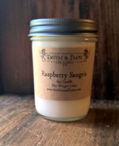 Raspberry Sangria Soy Candle Candle Container by BubbleandFlameNH