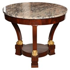 19th Century French Mahogany And Parcel Gilt, Marble Top Centre Table  France