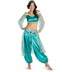 Disney Princess Jasmine Prestige Fab Costume For Women ($70) ❤ liked on Polyvore featuring costumes, outfits, cosplay, halloween costumes, princess halloween costumes, adult princess costume, womens costumes, womens halloween costumes and cosplay costumes