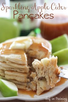 Sparkling Apple Cider Pancakes!  A delicious and flavorful breakfast!  Include a recipe for Sparkling Apple Cider Syrup