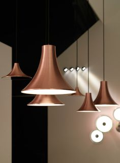 Copper pendant lamp Sirens Series by Copper Pendant Lights, Pendant Lamp, Pendant Lighting, Chandelier, Light Fittings, Light Fixtures, Copper Interior, Suspension Design, Wall Lights