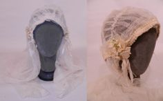 1920 Vintage White Net Lace Silk Ribbon Bridal Bonnet Cap Headpiece Wedding Veil