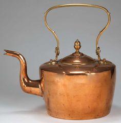 Kettle; Tea, Copper, Gooseneck, Dovetailed, English.