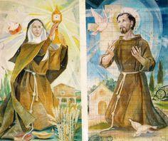 Francisco y Clara. Francis Of Assisi, St Francis, Clare Of Assisi, Catholic Art, San Francisco, Saints, Spirituality, Painting, God