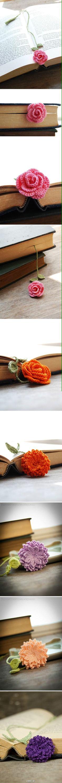 Marque page fleur crochet