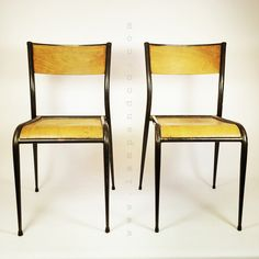 Pair of stackable  school chairs.