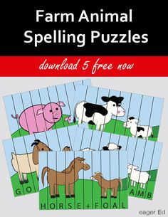 F is for Farm Animals | FREE printable spelling puzzles! | eager Ed