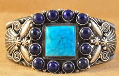 Handmade cuff bracelet, with natural Morenci Turquoise and Lapis Lazuli, by Navajo artist Darrell Cadman.
