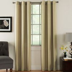 Features:  -Set includes 2 curtain panels.  -High quality faux linen.  -Metal grommets.  Product Type: -Panel pair.  Pattern: -Solid.  Number of Items Included: -2.  Pieces Included: -2 Curtain panels