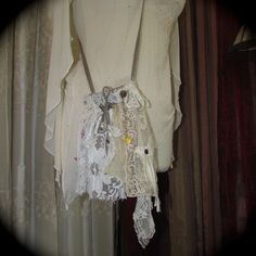 Refashioned Shabby Pouch, vintage shabby chic-y embellishments romantic lace, small drawstring bag
