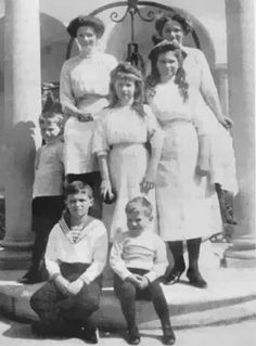 "Hereditary Prince Georg Donatus of Hesse (Darmstadt) and By Rhine,the Grand Duchesses Tatiana,Anastasia,Maria and Olga Nikolaevna Romanova of Russia,Tsarevich Alexei Nikolaevich Romanov of Russia and Prince Ludwig of Hesse (Darmstadt) and By Rhine at Livadia.  ""AL"""