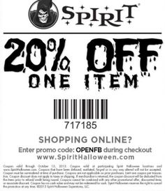 spirit halloween coupon spirit halloween promo code from the coupons app off a single item at spirit halloween or online via promo code walking august