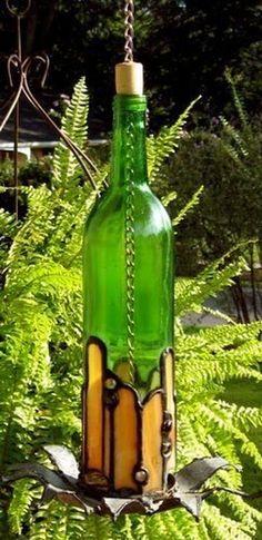 Bottle Bird Feeder - Green No. 2 - Delphi Stained Glass