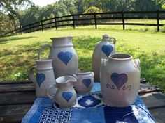 Art Pottery Whole Kitchen Set Dove Handpainted by AntiquesandVaria, $89.00