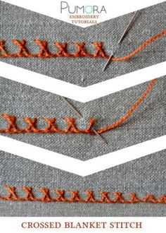 crewel embroidery tutorial crossed blanket stitch tutorial - Learn how to embroider with the lexicon of embroidery stitches. Step by step tutorials on how to do the blanket stitch and it's variations. Embroidery Stitches Tutorial, Hand Embroidery Patterns, Embroidery Techniques, Embroidery Designs, Embroidery Kits, Crochet Patterns, Art Patterns, Knitting Patterns, Silk Ribbon Embroidery