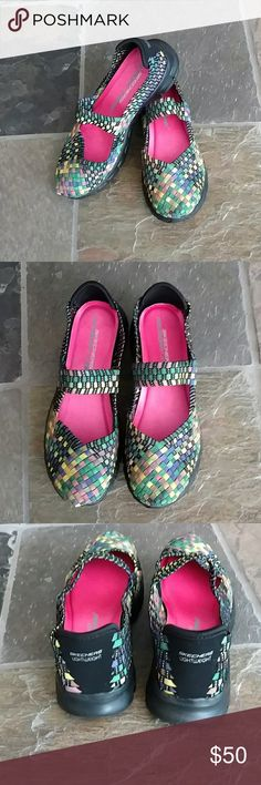 New Skeches Mary Jane's Size 8 New, never worn memory foam light weight Skechers multi color slip on Mary Jane style size 8 Skechers Shoes Flats & Loafers