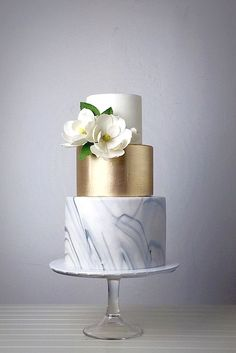 18 Trendy Marble Wedding Cakes ❤ See more: http://www.weddingforward.com/marble-wedding-cakes/ #wedding #cakes More