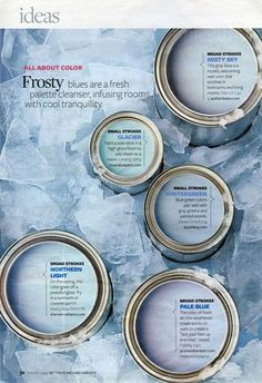 """Frosty"" paint colors from Better Homes & Gardens color palette {January Room Colors, Wall Colors, House Colors, Paint Color Palettes, Paint Color Schemes, Interior Paint Colors, Paint Colors For Home, Interior Painting, Paint Colours"
