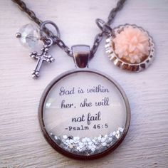 God is within her Psalm 46:5 medium 1inch by P3personalizedjewlry