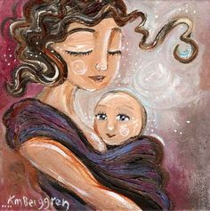 archival print, mother child, blue, sky, stars, white, baby wrap, wrapping baby, babywearing, baby wear, brown hair, long hair, short hair, front pack, maya, moby, sleeping, napping, outside, attachment, parenting, mom gift, infant, gift for mom