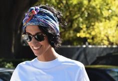 yasmin sewell proves that the turban with short hair works.